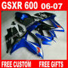 100 Brand New Fairings For Beautiful Blue Black SUZUKI 2006 2007 GSXR 600 750 K6 BACARDI