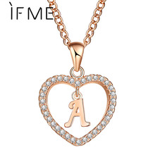 IF ME Love Heart Crystal Gold Color Initial Name Necklace Cubic Zirconia Pendant For Women Elegant Letter A Choker Jewelry Gifts