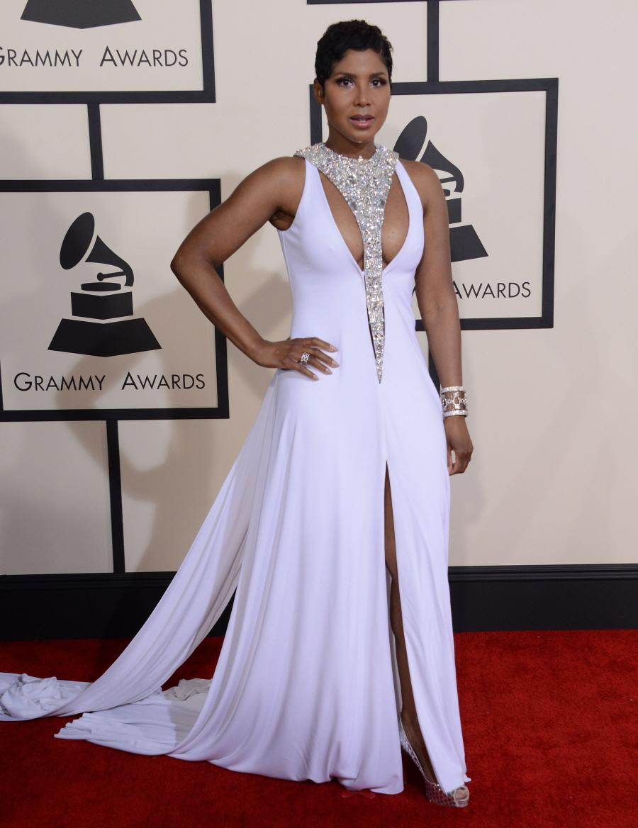 2015 Grammys Toni Braxton Long Celebrity Dresses High Neck Sleeveless Sequins Watteau Train Evening Red Carpet - FAERIE store