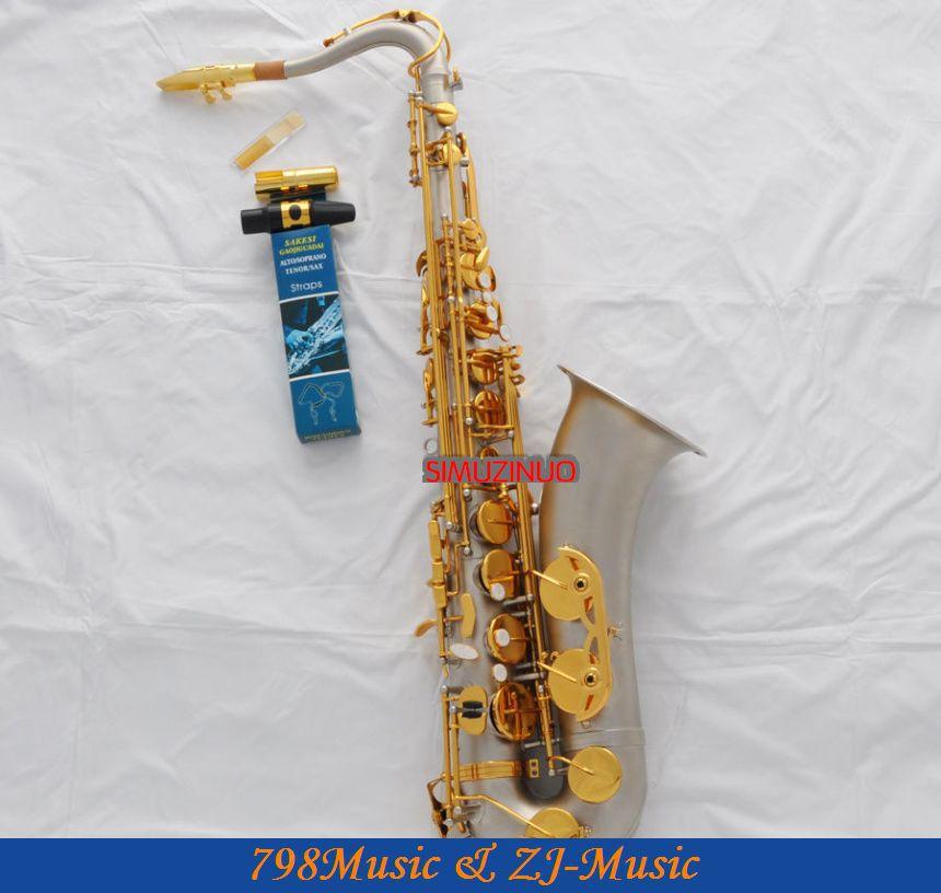 Professionnel Nouveau Satin Nickel Ténor sax Haut F # saxophone Avec Le Cas Bec En Métal