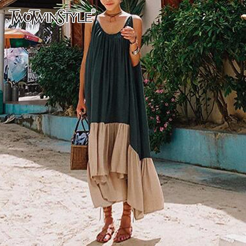 TWOTWINSTYLE Spaghetti Strap Dress Female Backless Patchwork Asymmetrical Long Beach Dresses 2018 Summer Fashion Sexy Clothing Платье