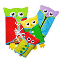 4PCS Baby Montessori Learn to Dress Plush Owls Boards Doll Early Learning Basic Life Skill Toys-Zip, Snap, Button, Lace & Tie