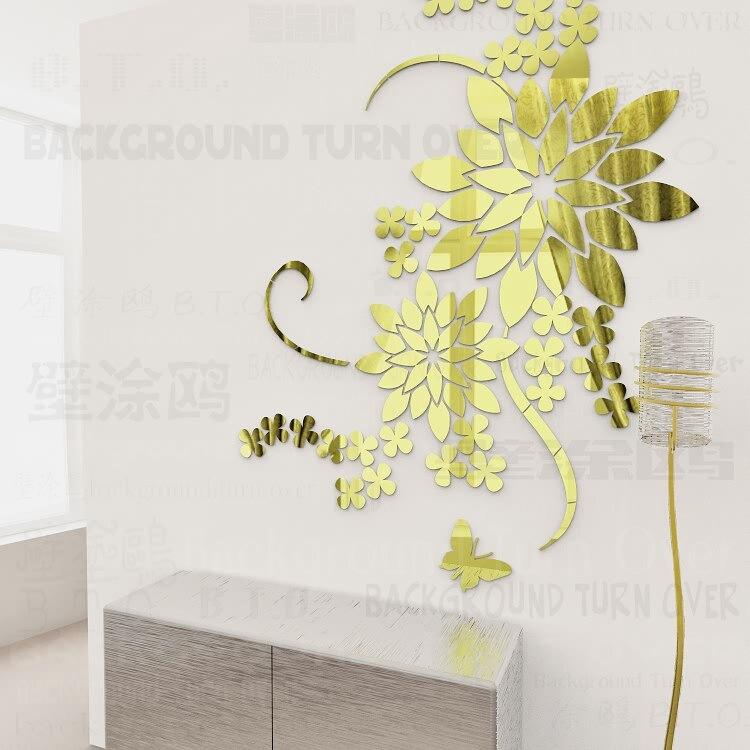 pensamiento creativo diy d gran flor tatuajes de pared espejo etiqueta decoracin de acrlico para la