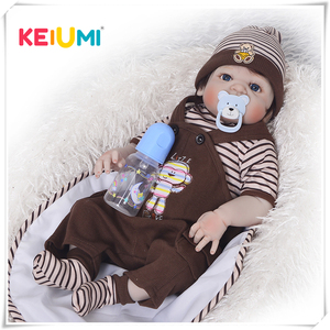KEIUMI Newborn doll 57 cm Realistic Full Silicone 23 inch Reborn Baby Doll For Sale Lifelike Baby Dolls Kids Playmate Xmas Gifts(China)