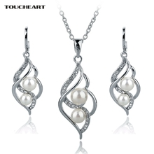 цена Nigerian Wedding African Beads Jewelry Set Crystal Women Silver Simulated Pearl Earrings Statement Necklaces Idian Jewelry 2016 онлайн в 2017 году