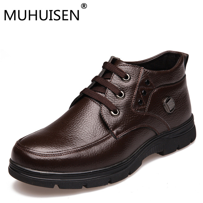 HUHUISEN Plus Size 38-48 Men Winter Boots With Fur Keep Warm Genuine Leather Men Boots Platform Snow Boots Waterproof Ankle boot mvvt super warm winter men boots snow boots with fur keep warm platform men winter snow shoes waterproof ankle boots