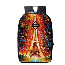 Free Shipping Eiffel Tower Printing Backpack School for Teenager Girl Laptop Bag 16 Inches Large Capacity Women's Bag Mochilas