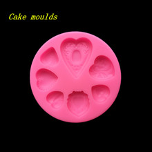 Fondant cake mold 7 mini heart shape decoration Silicone mould diy clay resin jewelry pendant mold