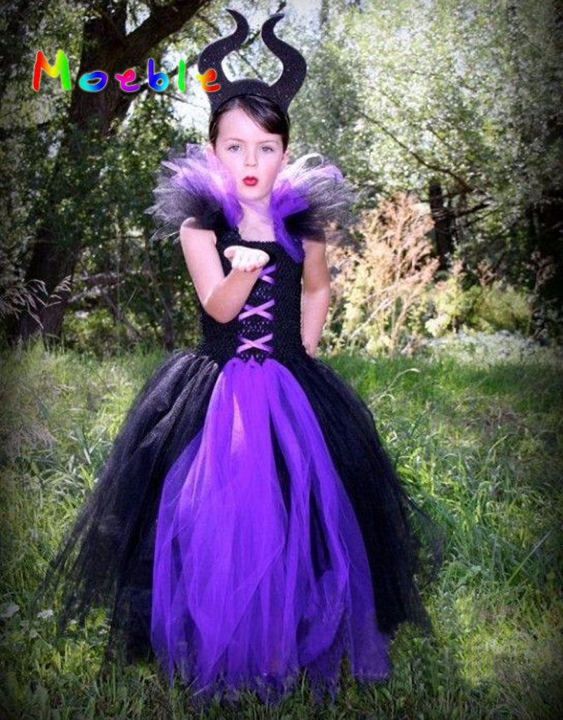 Maleficent Evil Queen Girl Tutu Dress Children Christmas Cosplay Costume Dresses Kids Girl Party Photography Clothes Fancy Dress maleficent evil queen girl tutu dress with horns halloween photo prop purim kids baby fancy costume handmade dress ts127