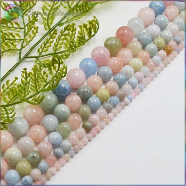 Semi Natural Precioso Pedra Morganite e Beryl Loose Contas Redondas 4mm, 6mm, 8mm, 10mm, 12mm