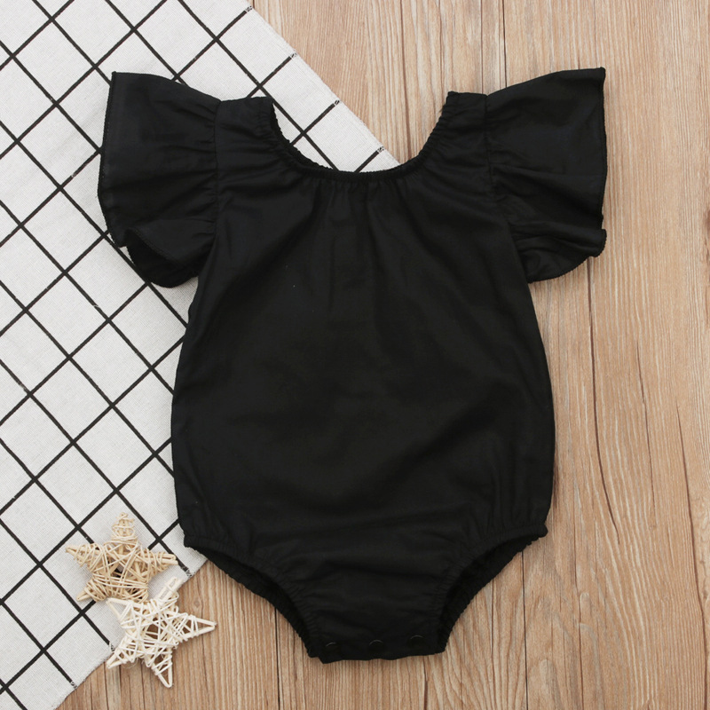 Promotion 2018 Black Romper Baby Romper Baby Summer Clothes Newborn 12 Month Baby Girl Clothes Infant Girl Onesie