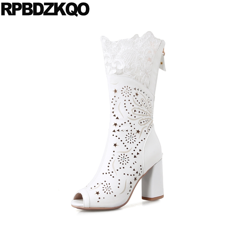 Cut Out Genuine Leather Peep Toe Sandals Cutout Summer High Heel Women White Wedding Boots Chunky Mid Calf Lace Blue Bridal doershow ladies italian shoes and bag set decorated with rhinestone african wedding shoes and bag set party black shoes svp1 15