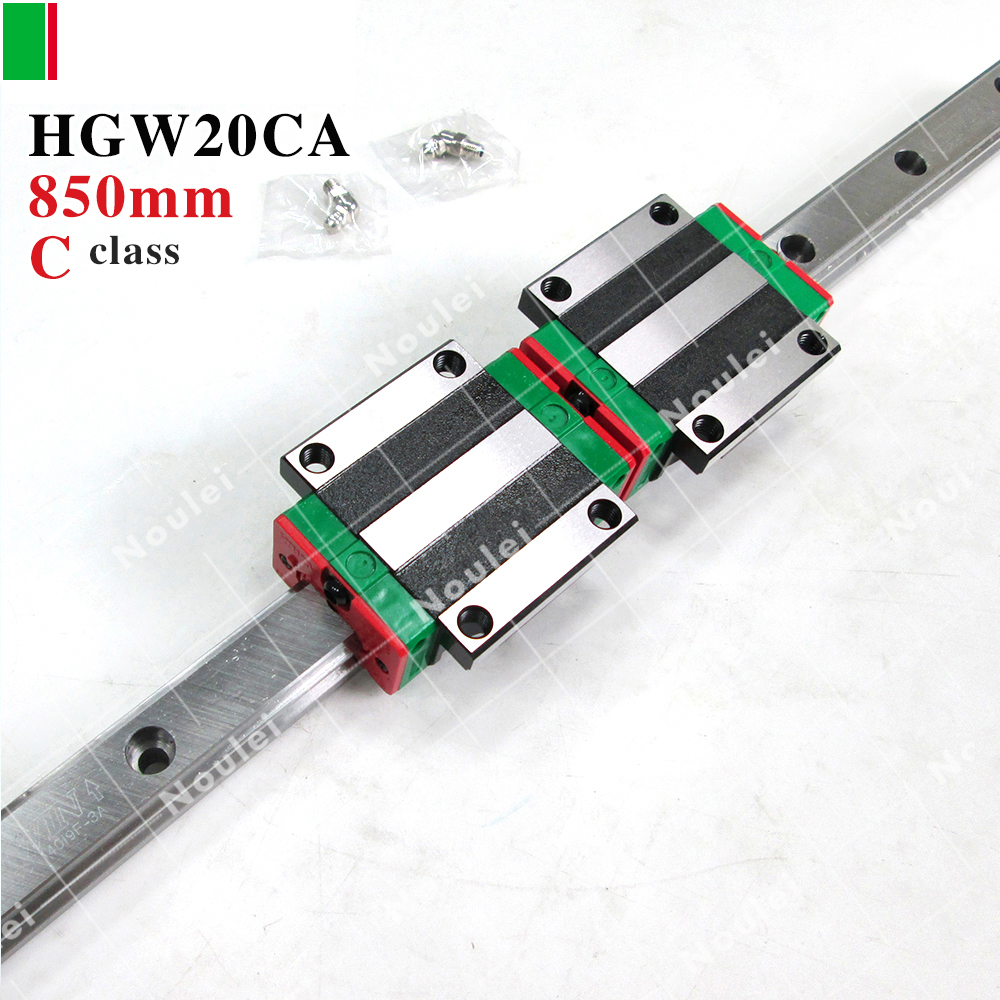 HIWIN HGW20CC HGW20CA slider with HGR20 850mm linear guide rails 20mm wide for cnc router High efficiency HGW20 cnc guide rails 5pcs hiwin hgr20 linear rail 1600mm 10pcs hgw20cc carriage