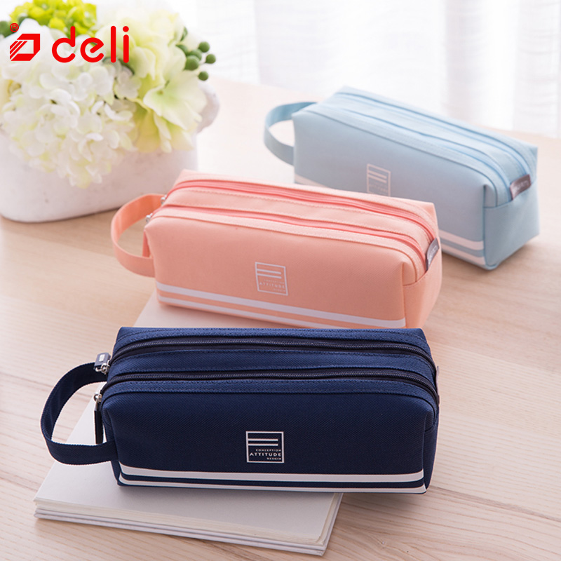 New Simple Pencil Pen Case Cosmetic Makeup Bag Storage Pouch Purse Students School Office Supplies Children Stationery Case S*70 Home & Garden