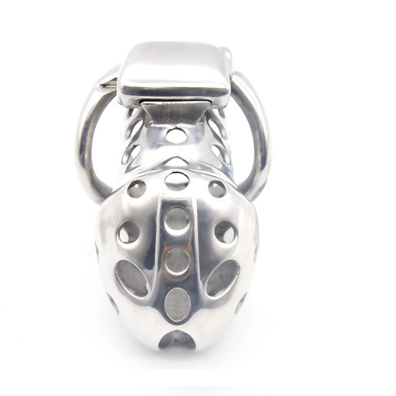 Image 3 - Electric shock male stainless steel long electro Chastity cage metal cock penis ring ball stretcher lock BDSM restraint sex toy-in Penis Rings from Beauty & Health