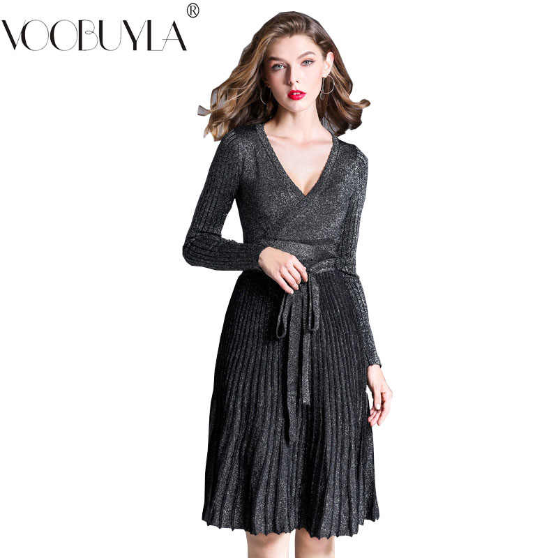 e90b911470d Voobuyla Women Knitted Dress Sexy Deep V-Neck Dresses 2018 Autumn Vintage  Bow Tie Robe