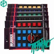 Taihao Juego de llaveros de goma para juegos, llaveros de doble capa de goma con brillo de perfil Cherry MX OEM, 4 o 18 magenta, color azul claro
