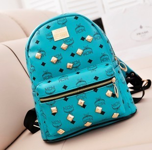 Rivet print casual backpack bag vintage preppy style student backpack PU female bags bag