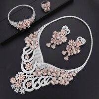 fdc99d389565 Trendy Cluster Blossom Nigerian Jewelry Set For Women Wedding Necklace  Earrings Bracelet Ring Jewelry Set Parure. Conjunto de ...