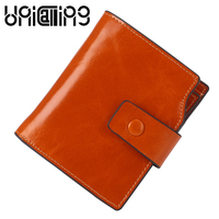 UniCalling Oil Wax Cowhide women wallets fashion brand solid color 9 Card holder mini Coin Purse Genuine Leather women wallet