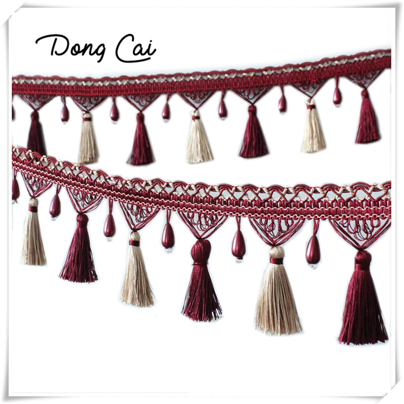 Lace Tassel Fringe Hair Ball Curtain Sofa Tablecloth Accessories Lace Trim Diy Decoration Fabric Panicle Pearls 3yards/lot