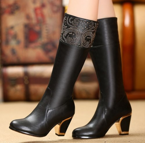 De Caliente Genuino Botas Zapatos Eur Natural Rodilla 31 Alto R5393 Larga Negro Mujeres Cuero Envío La Verdadero Tacón Por Libre 45 Encima Nieve wC8t7qaAx