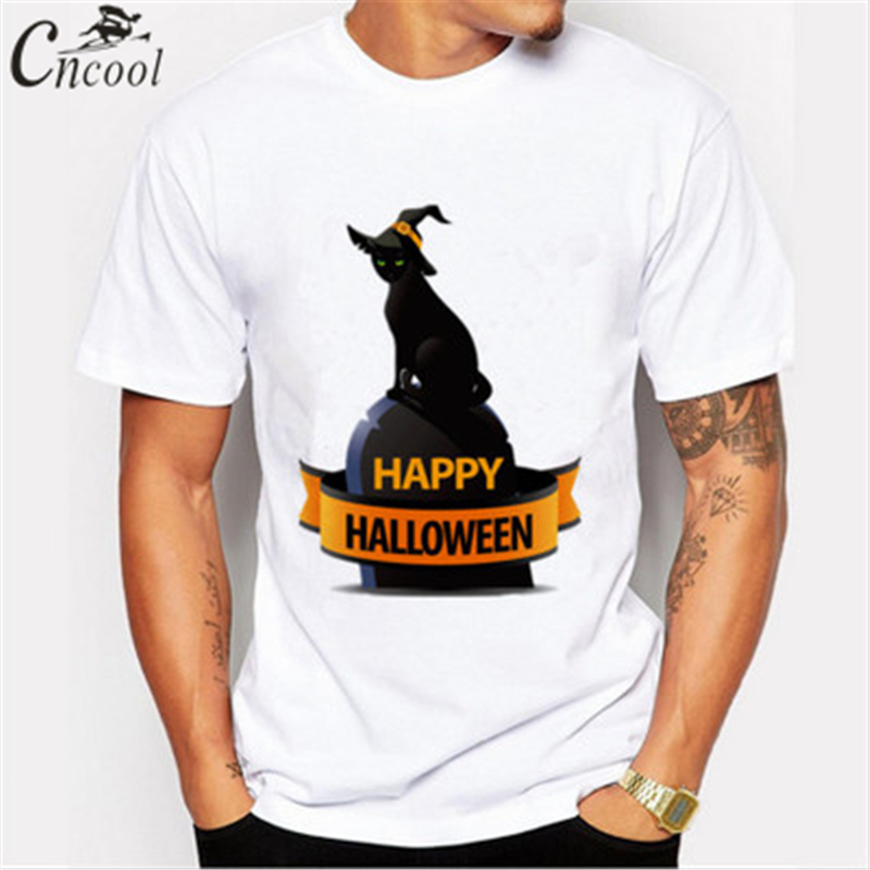 f934f0ca6a3b 2018 Man s T shirt Happy Halloween Black Wizard Cat Print T shirt Plus Size  New Brand Modal Comfortable T Shirt-in T-Shirts from Men s Clothing on ...