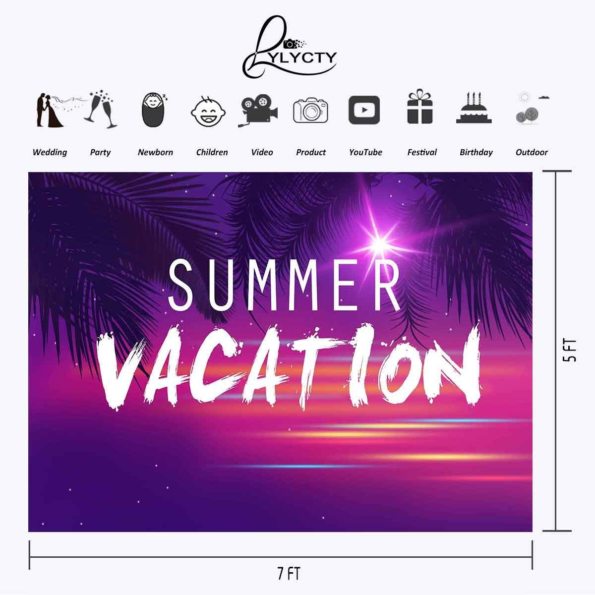 Image 2 - 7x5ft Summer Vacation Backdrop Ultra Violet Color Photo Backdrops Coconut Tree Branch Photography Background Studio Props-in Photo Studio Accessories from Consumer Electronics