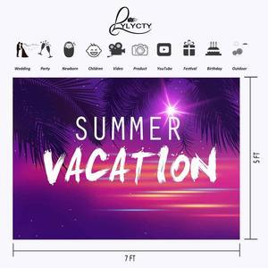 Image 2 - 7x5ft été vacances toile de fond Ultra Violet couleur Photo décors cocotier branche photographie fond Studio accessoires