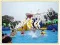 Gran pulpo inflable piscina con gran tobogán, gigante parque acuático inflable para los niños