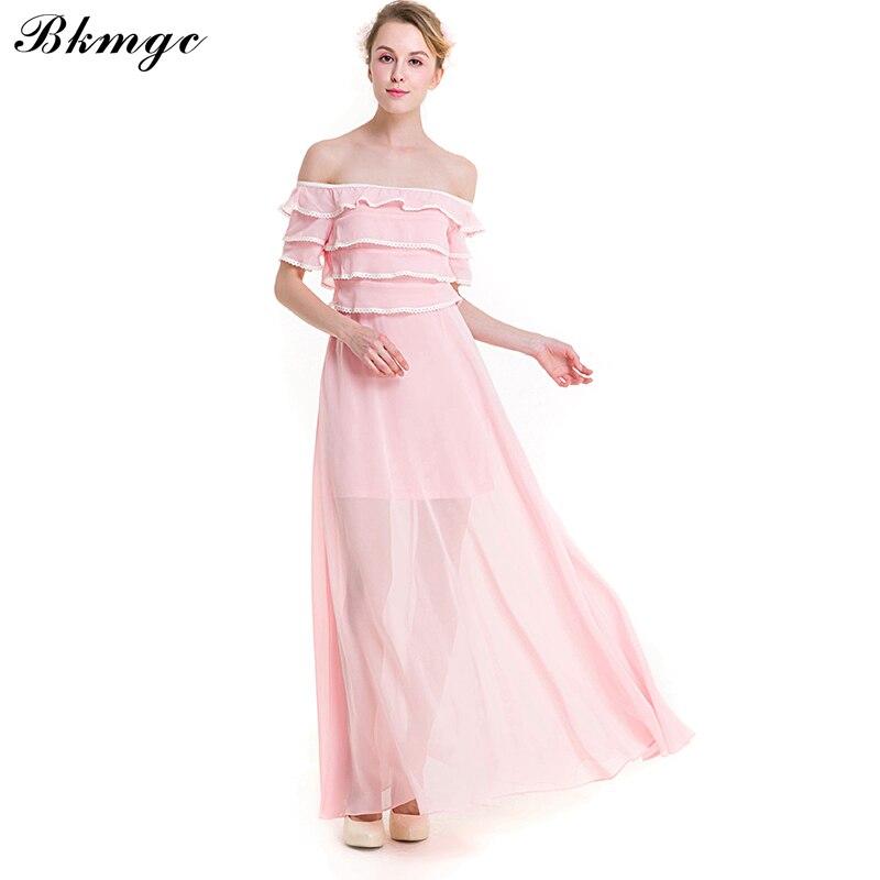 c05c9b821864b BKMGC New Maxi Short sleeves Girls Elegant Dress Strapless Simple Waves  Lace Dresses Summer Beach Woman Dress