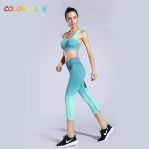 f14335d4d6887 Colorvalue 2 Pcs/Set High Waist Capri Pants Activewear Gradient Color Sport  Fitness
