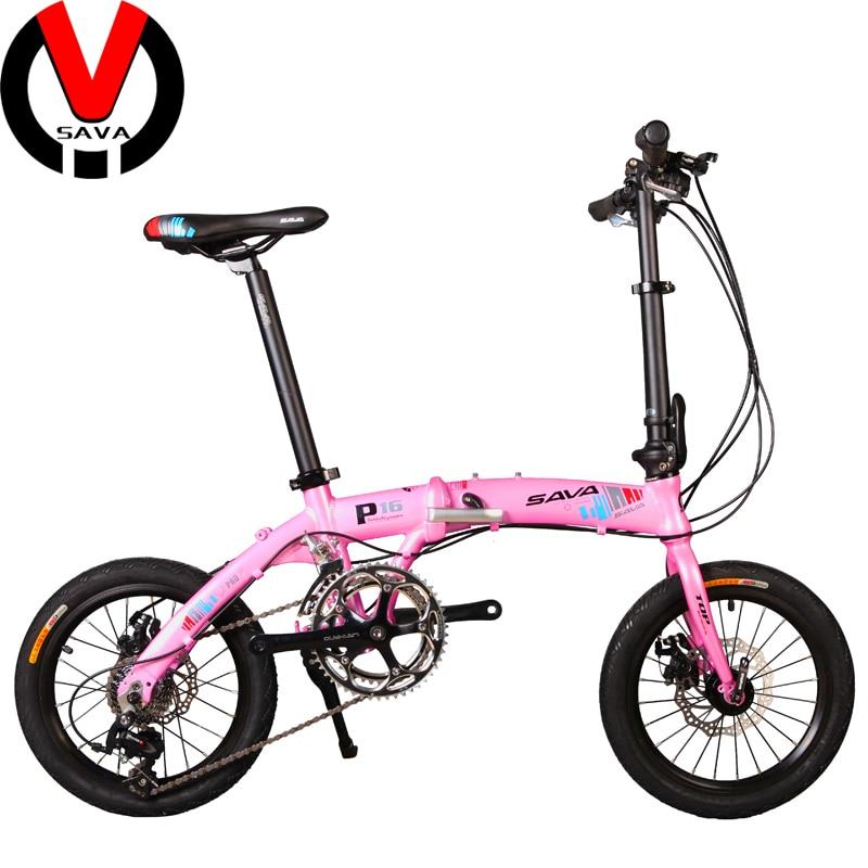 sava p16 unisex mini 16s folding mtb mountain bicycle ultralight foldable bike 16 bicicleta. Black Bedroom Furniture Sets. Home Design Ideas