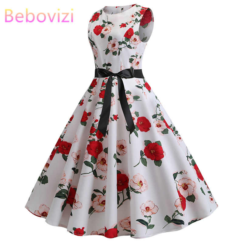 Bebovizi Fashion Summer 2019 Women The New Plus Size Sexy Vestido Retro Casual Office Elegant Red Flower Print Bandage Dress