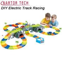 子供の電気トラックレースdiy 268ピーススロットグロー作成道路曲げ柔軟なトラックでledライト車教育おもちゃ