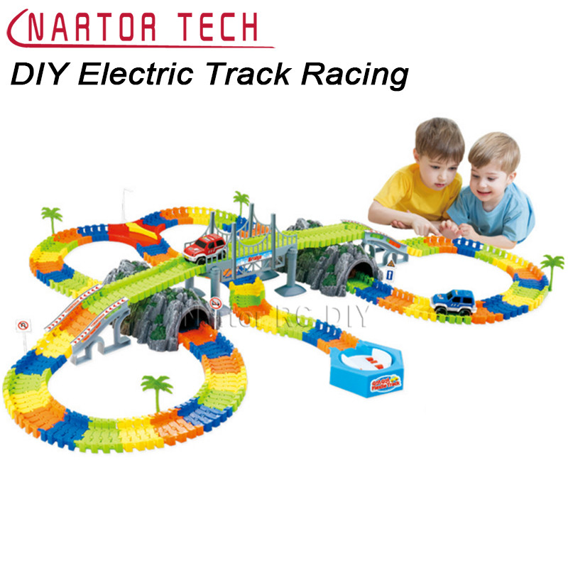 Children's Electric Track Racing DIY 268PCS Slot Glow Create A Road Bend Flexible Tracks with LED Light Cars Educational Toys 1200pcs magic glow in the dark glow race track create a road bend flexible tracks with 5 led light up cars educational toys