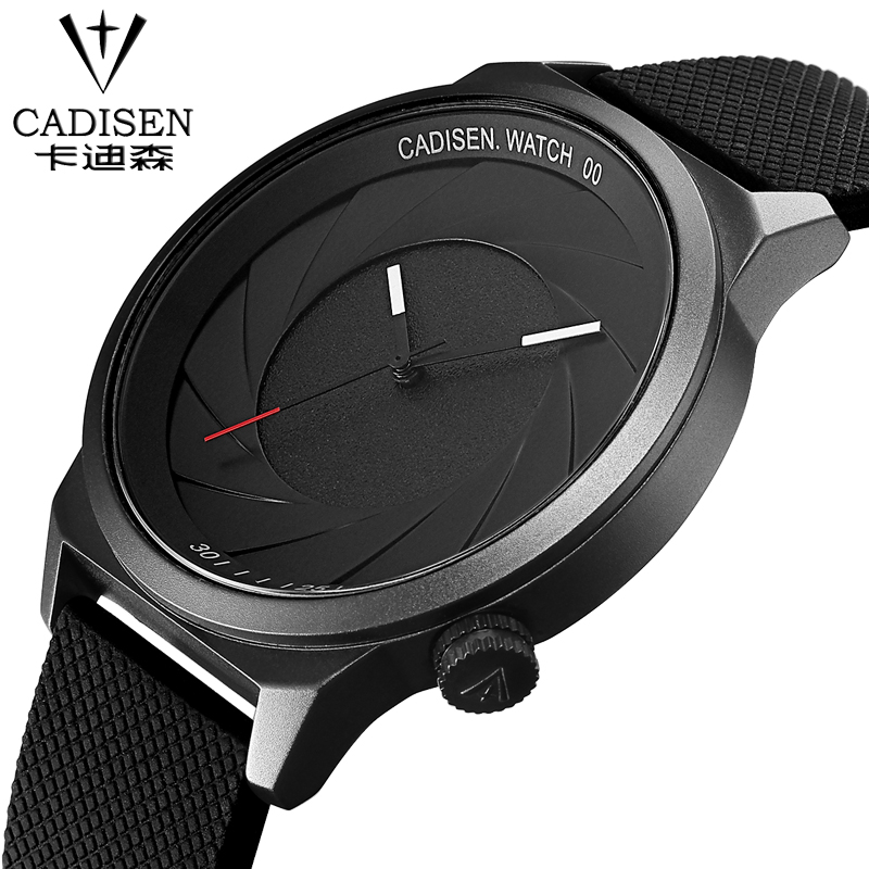 Silicone Straps watch Top cadisen brand Quartz-Watch Men Casual Business Simple Analog Watch Men Relogio Masculino with gift box