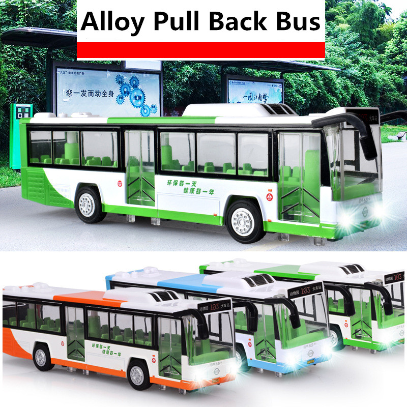 1:50 Alloy Pull Back Bus Model, High Imitation City Air-conditioned Bus,flash Toy Vehicle, Free Shipping