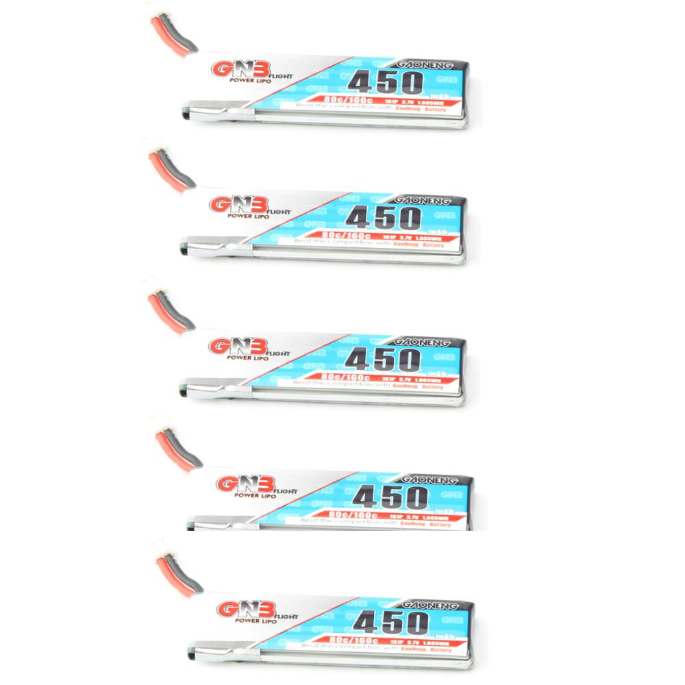LeadingStar Gaoneng GNB LiPo Battery 450mAh 80/160C 1S 3.7V with PH2.0/<font><b>51005</b></font> White Plug Battey for RC FPV Racing Drone image