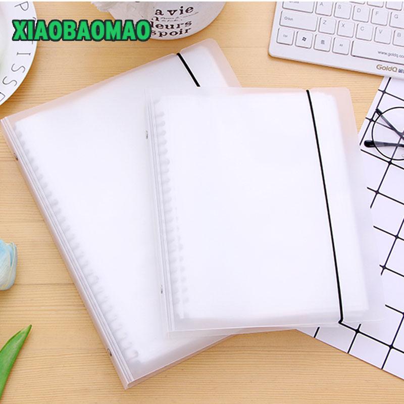 Transparent 20/40/60 Pockets  Loose-leaf Coil Display Book A5 B5 Document File Bag Paper Storage Holder For Papers Stationery