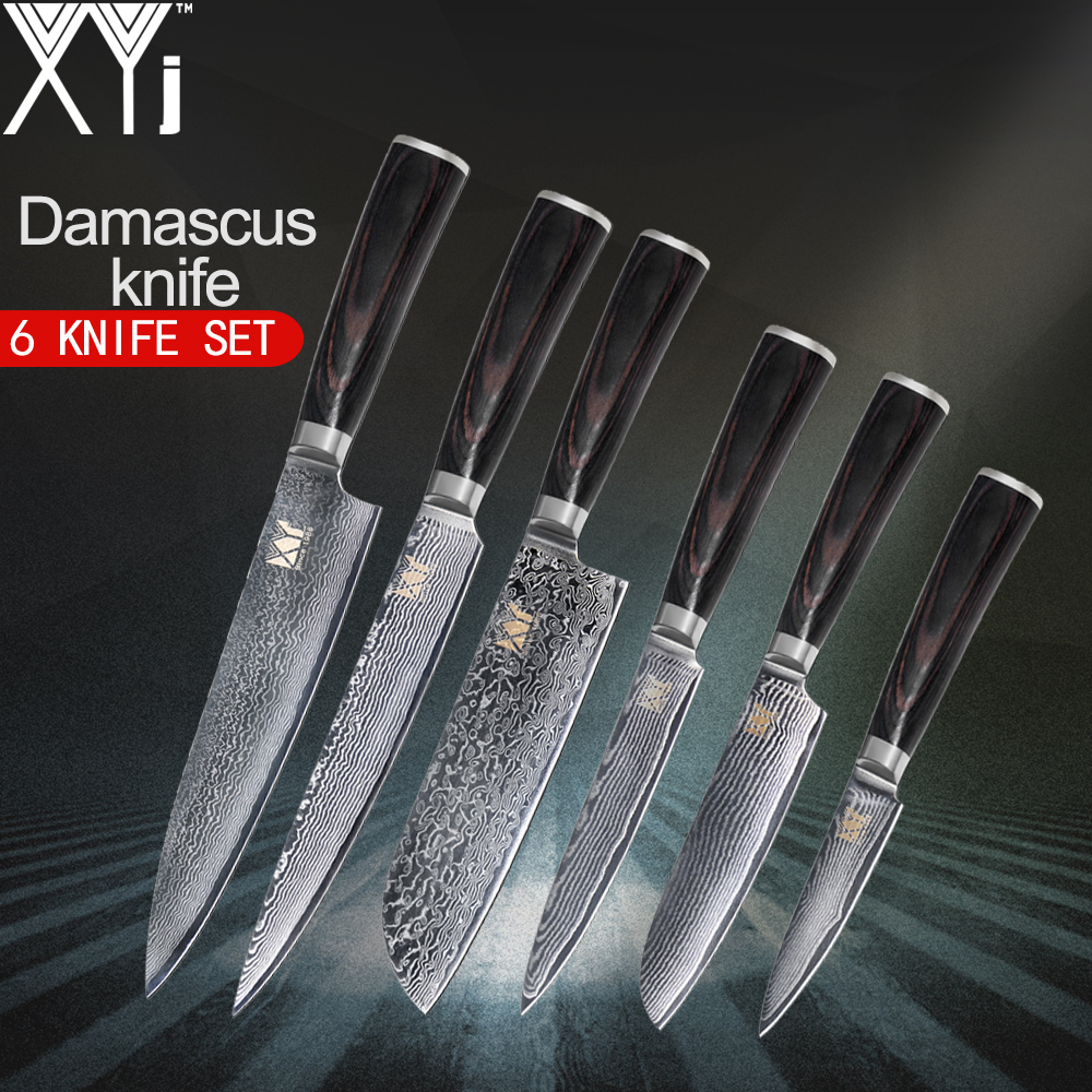 XYj Damascus Steel Cooking Knife VG10 Core Kitchen Knives Pattern 3 5 Fruit 5 Utility 7