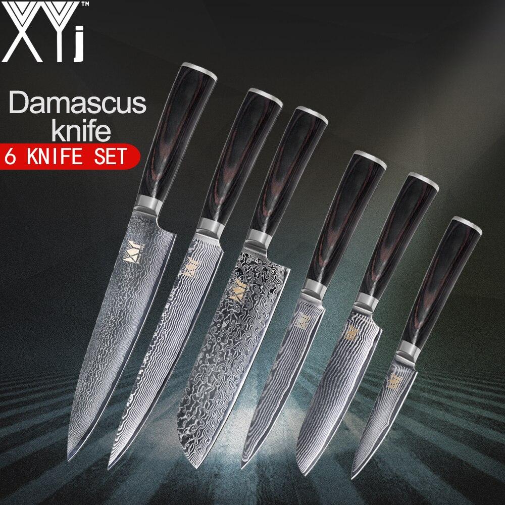 XYj VG10 Core Facas de Cozinha Faca De Cozinha Em Aço Damasco Padrão 3.5 Fruto 5 Utilitário 7 5 santoku 8 Fatiar 8 Faca Do Chef