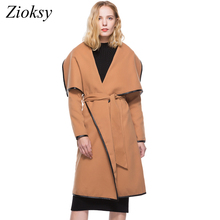 Zioksy New Autumn Winter Wool Coat Women Long Sleeve Two-Sided Velvet PU Leather Side Long Trench Coat Sashes