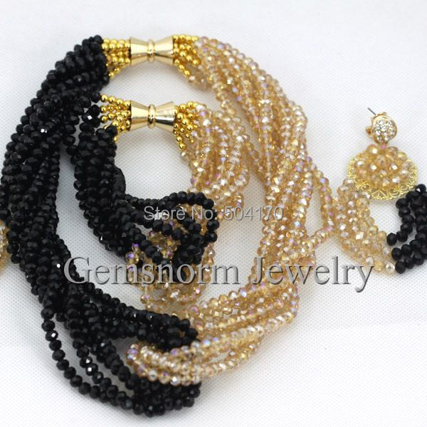 Classic Black/Gold Dubai Bridal Jewelry Set Twisted Black African Crystal Beads Costume Jewelry Set Chunky Free Shipping GS608