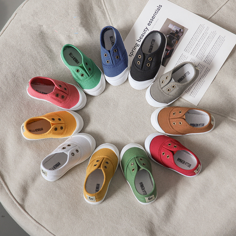 2019 Girls Boys Fashion Canvas Sneakers Toddler Canvas Shoes Kids Candy Colors Casual Sneakers Breathable Fashion Shoes SH19026