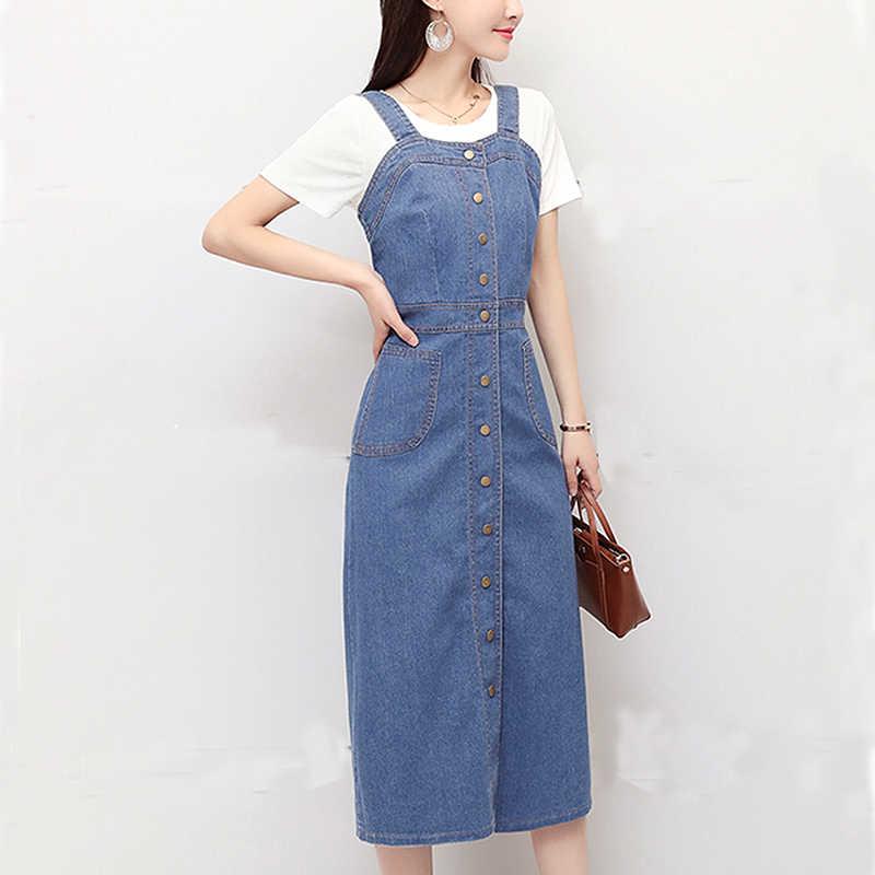 Сарафаны джинсовые платья для женщин винтажные тонкие милые без рукавов на подтяжках однобортный сарафан комбинезон длинное платье Vestidos