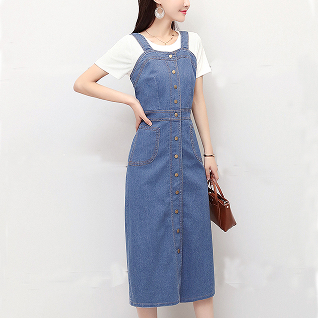 14149c6617 Sarafans Denim Dresses For Women Vintage Slim Sweet Sleeveless Suspender  Single-Breasted Sundress Overall Long Dress Vestidos