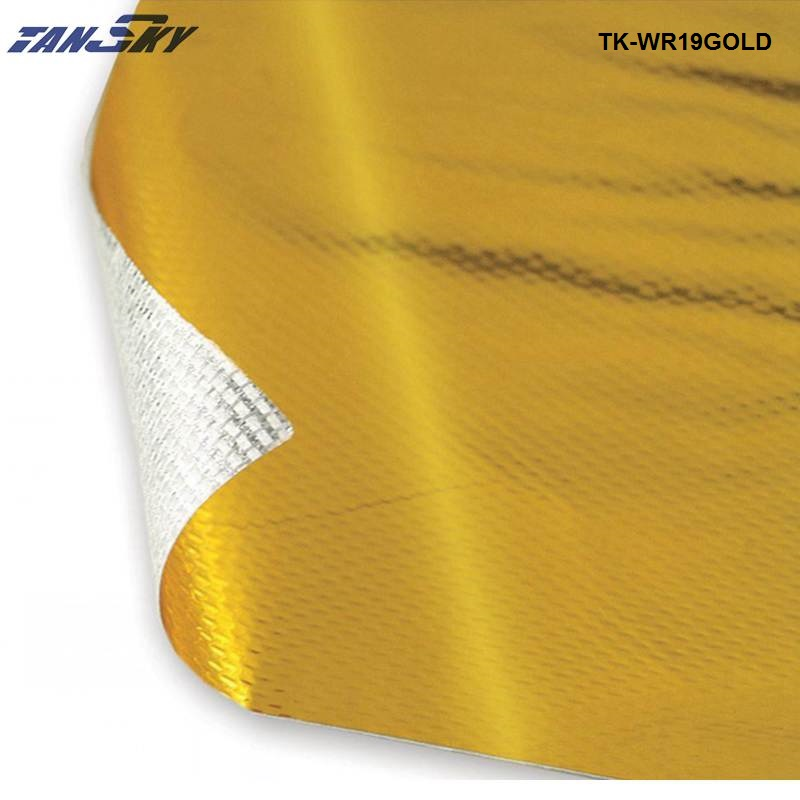 39x 47 SELF ADHESIVE REFLECT A GOLD HEAT WRAP BARRIER FOR THERMAL EXHAUST AIR INTAKE For Ford Mustang 05-10 TK-WR19GOLD adjustable universal 3 air filter turbo intake pipe intercooler piping hose aluminium for ford mustang 01 07 tk af1022