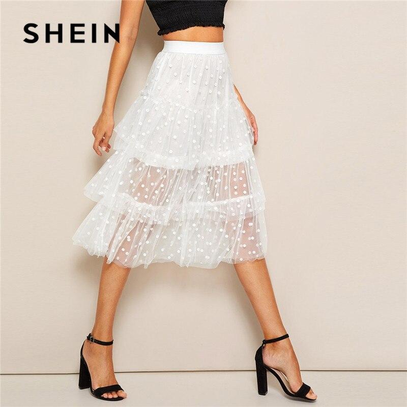 SHEIN White Mesh Skirt 07190304179