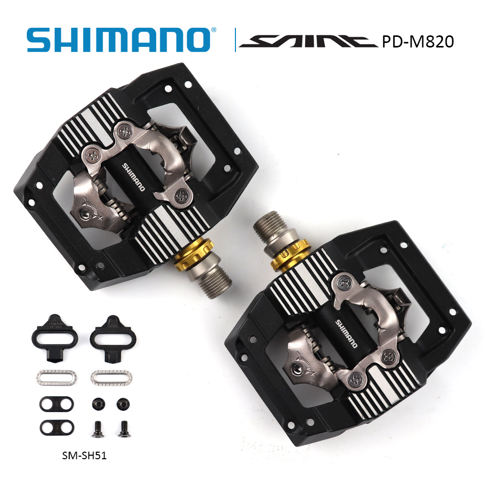 SHIMANO SAINT PD-M820 SPD Pedal XC/DH Downhill Enduro SPD Mountain Bike PedalS incl SM-SH51 Cleats+1.0 mm spacer shimano pd m545 spd bicycle cycling pedal mtb mountain xc clipless bike incl sm sh51 cleats mountain bike pedals